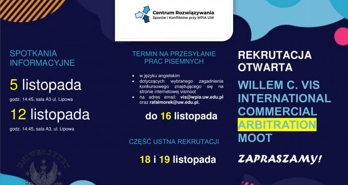 Rekrutacja do Drużyny Uniwersytetu Warszawskiego w konkursie arbitrażowym VIS Moot